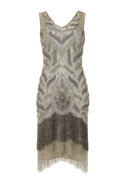 US18 UK22 AUS22 EU50 Hollywood Grey Silver Fringe dress Slip ...