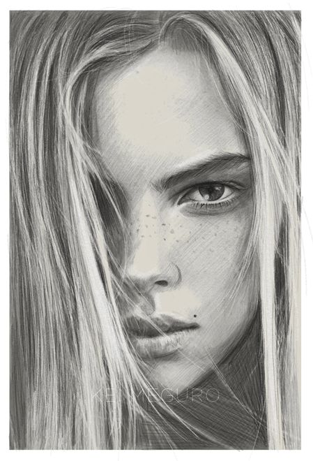 """Lovely pencil on paper by Kei Meguro: """"Always been fascinated by freckles"""""""