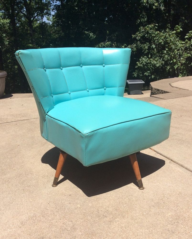 Vtg 1960 S Teal Kroehler Club Swivel Chair Mid Century