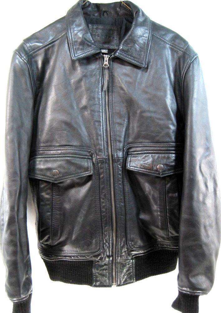 28deda36078 Merona Men Leather Bomber Jacket Size S Black Brass Zipper Buttons  Merona   FlightBomber