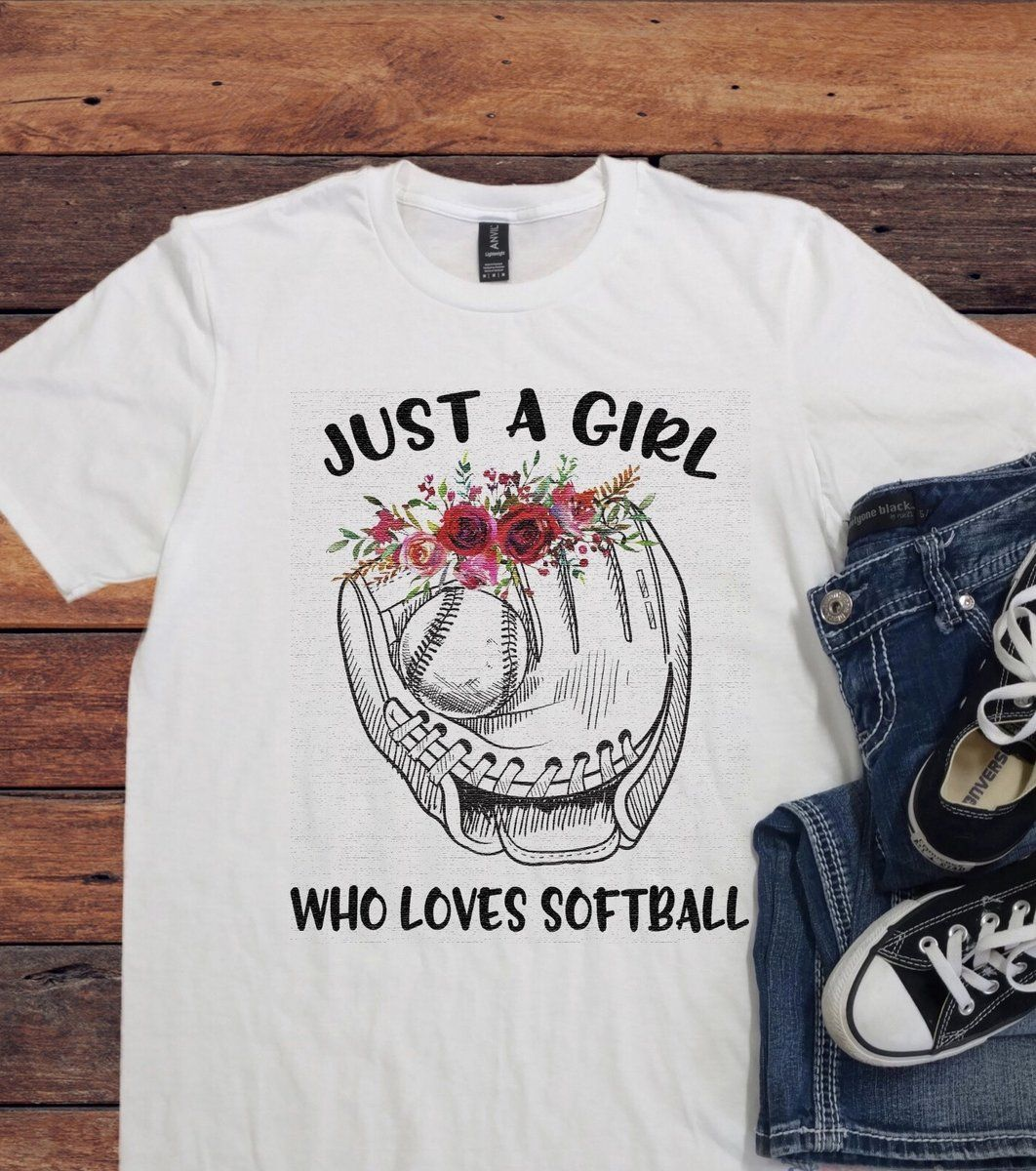 Just a girl who loves softball graphic tshirt simple