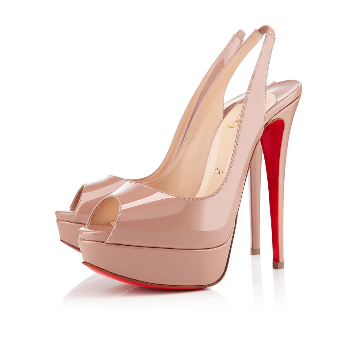 8547da82f14 LADY PEEP SLING PATENT CALF 150 Nude Patent Calfskin - Women Shoes ...