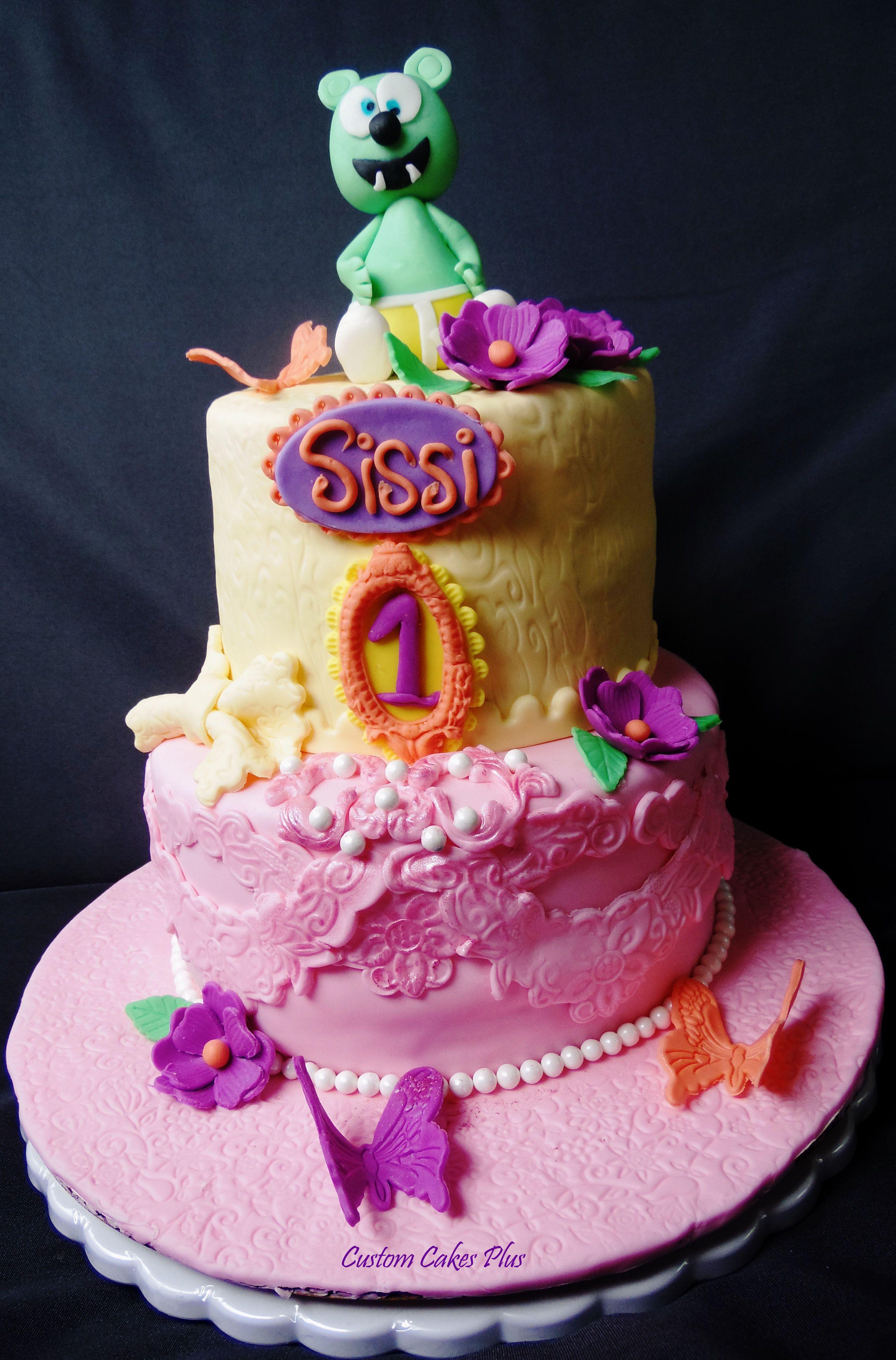 Gummi bear themed birthday cake Custom cakes, Cake