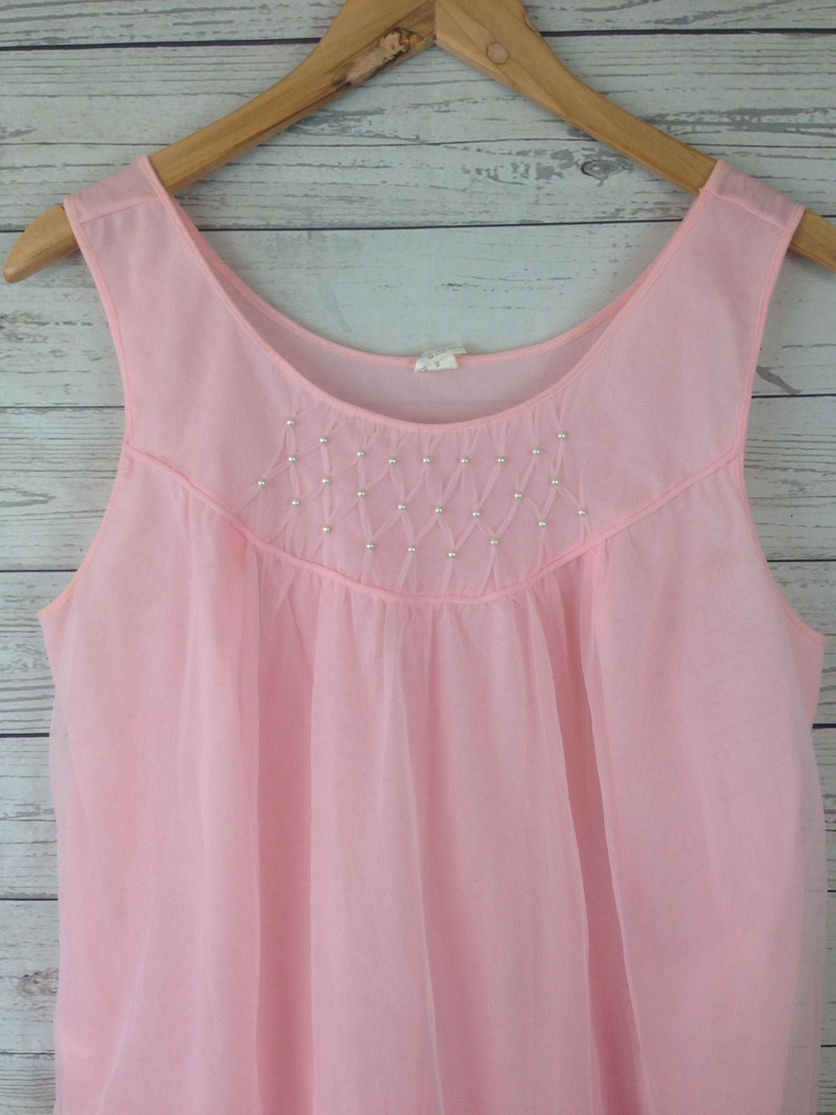 vintage 1950s pink short tulle babydoll nightie lingerie Nightgown Womens  SZ L NG15 by ExtraordinaryVtg on Etsy 3e55cb0ef