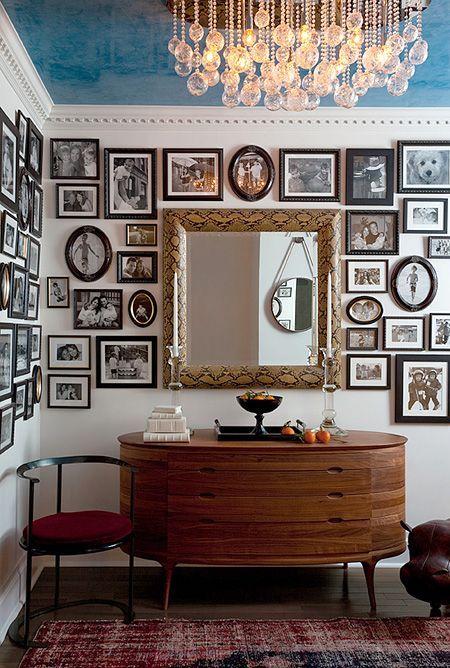 Black miniature frames create an interesting gallery wall ideas plate walls also rh pinterest