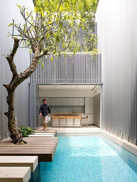 Green Style Singapore Terrace House By Ong And Ong Courtyard Design Pool Houses Indoor Swimming Pools