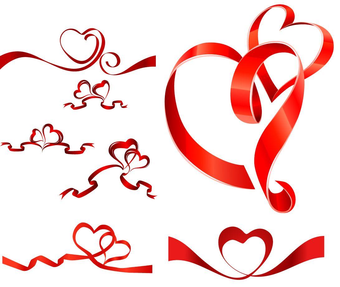 ハート型の赤いリボン heartshaped vector ribbon イラスト素材 | 資料