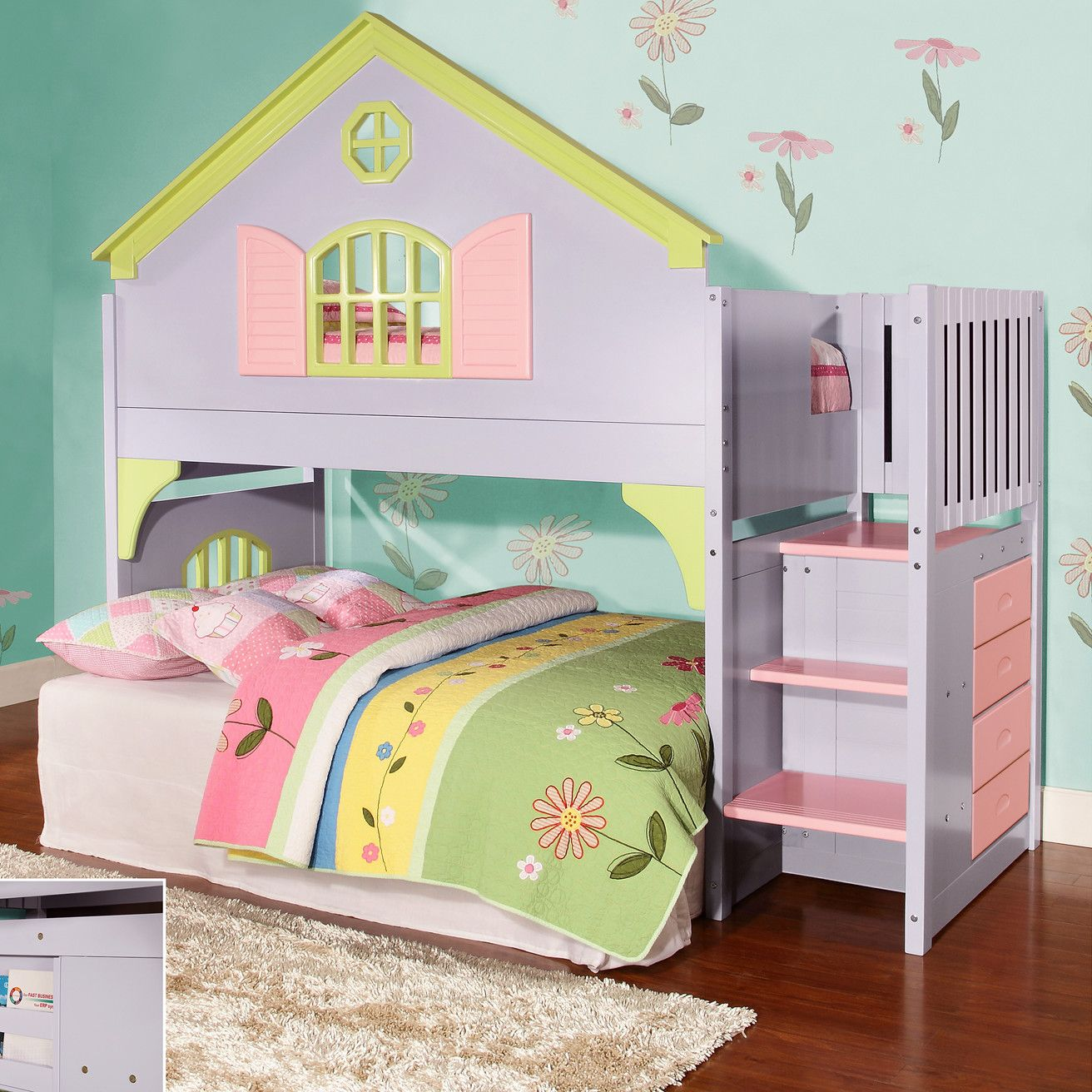 Donco kids donco kids twin doll house loft bed with for Best beds for small rooms