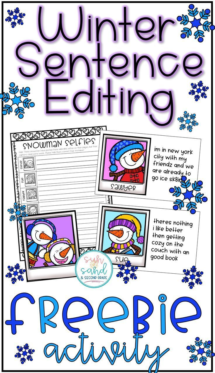 Winter sentence editing activity - students will correct the ...