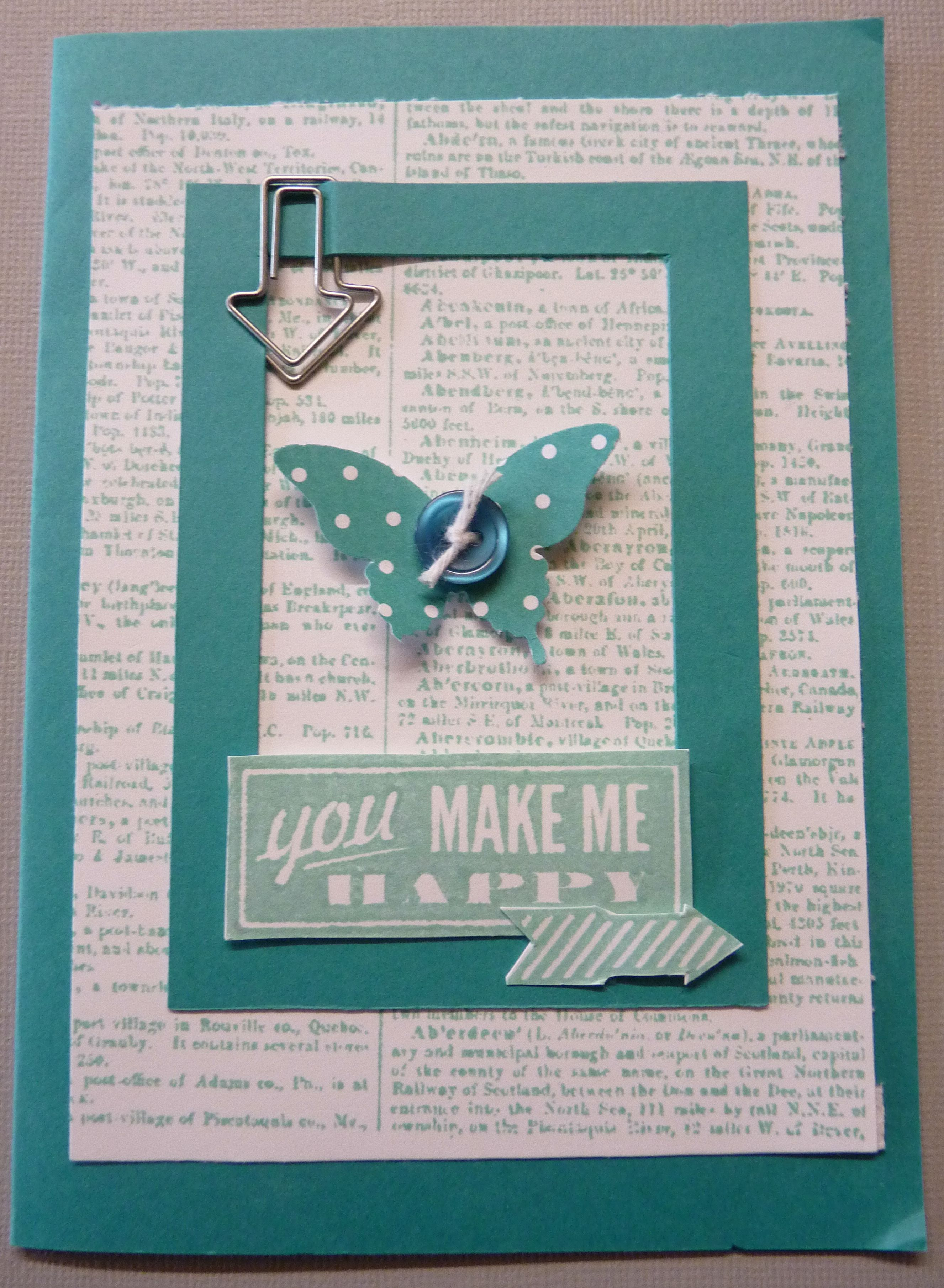 Stampin Up Hello Lovely Stamp Set; Dictionary Background Stamp; Cardstock - Whisper White & Tempting Turquoise; Butterfly Punch; Cute Clips; Brights Button http://stampinupatthewarren.blogspot.co.uk/