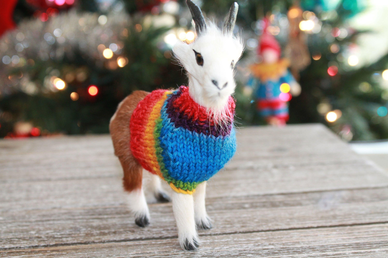 Christmas Goat in handmade sweater ornament, Handmade Knit ...