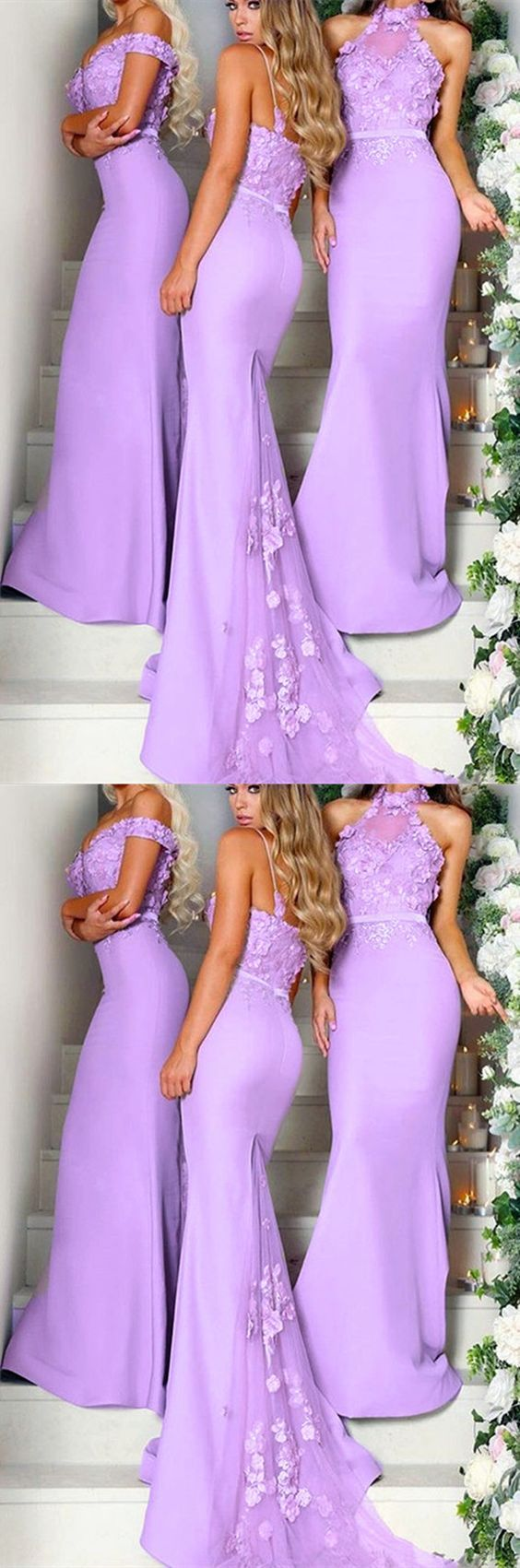 Chic lace flowers embroidery mermaid long bridesmaid dresses