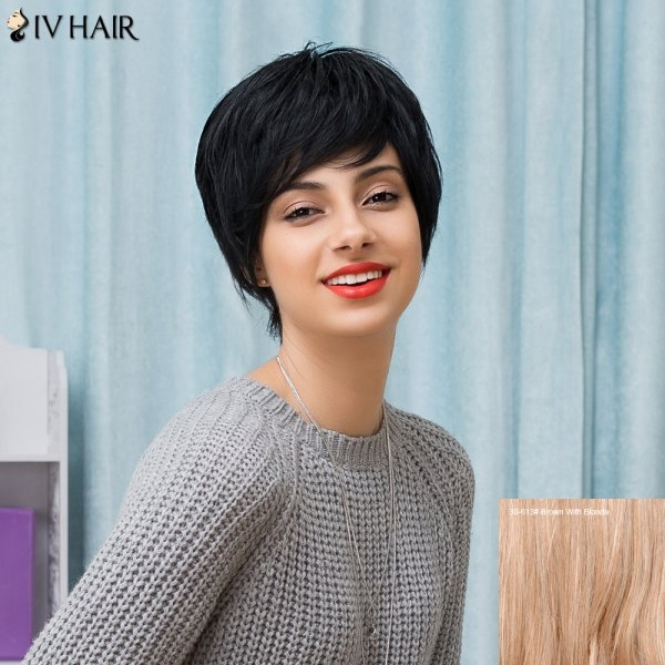 43.25$  Buy now - http://difav.justgood.pw/go.php?t=207317204 - Siv Hair Short Inclined Bang Natural Straight Human Hair Wig 43.25$