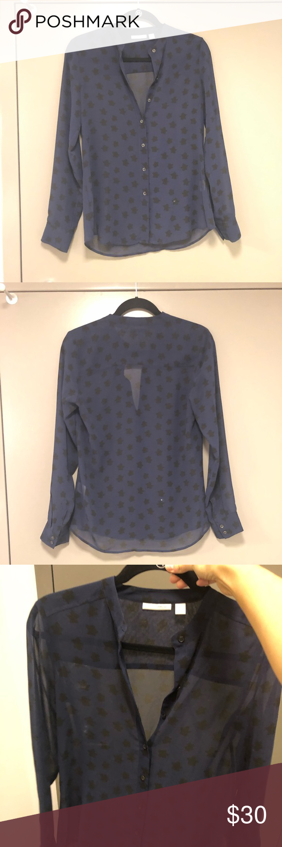 eeeb014e679 Black and Blue Stars Halogen Blouse 100 % polyester Halogen Tops ...