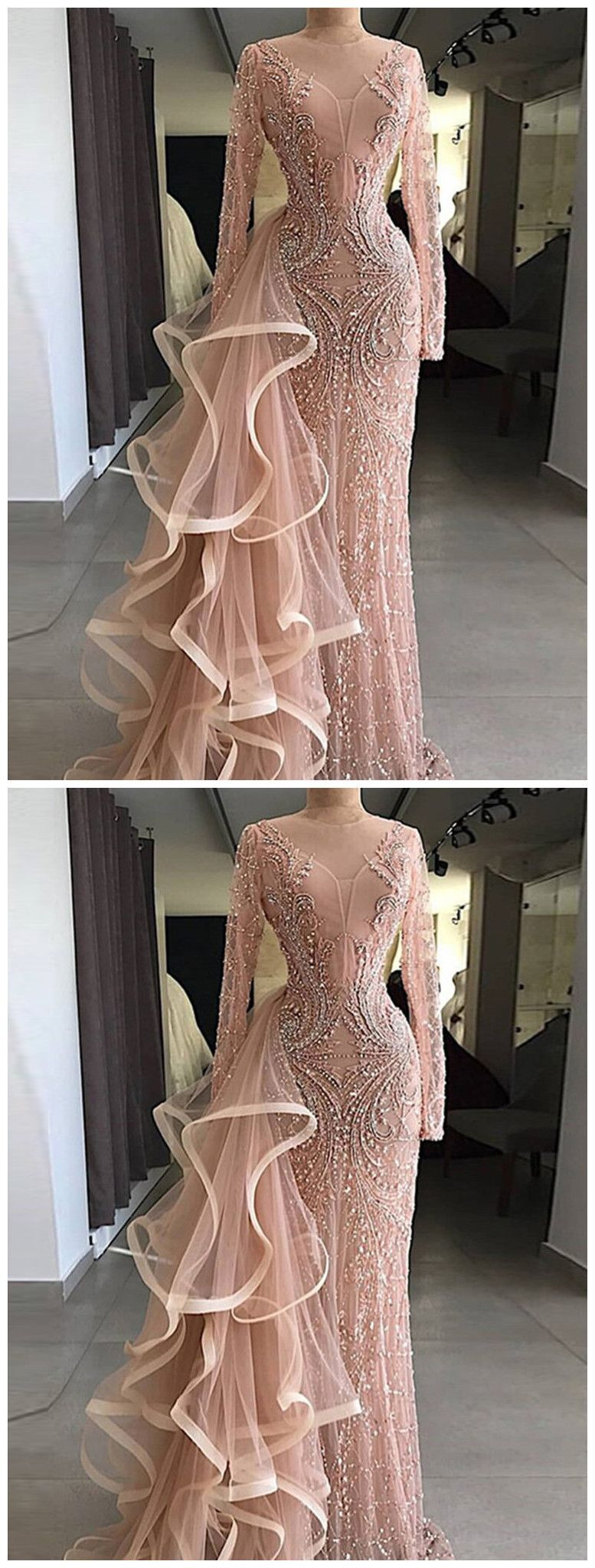 95bdeeed869 Chic Mermaid Sparkly Prom Dress With Beading Long Sleeve Prom ...