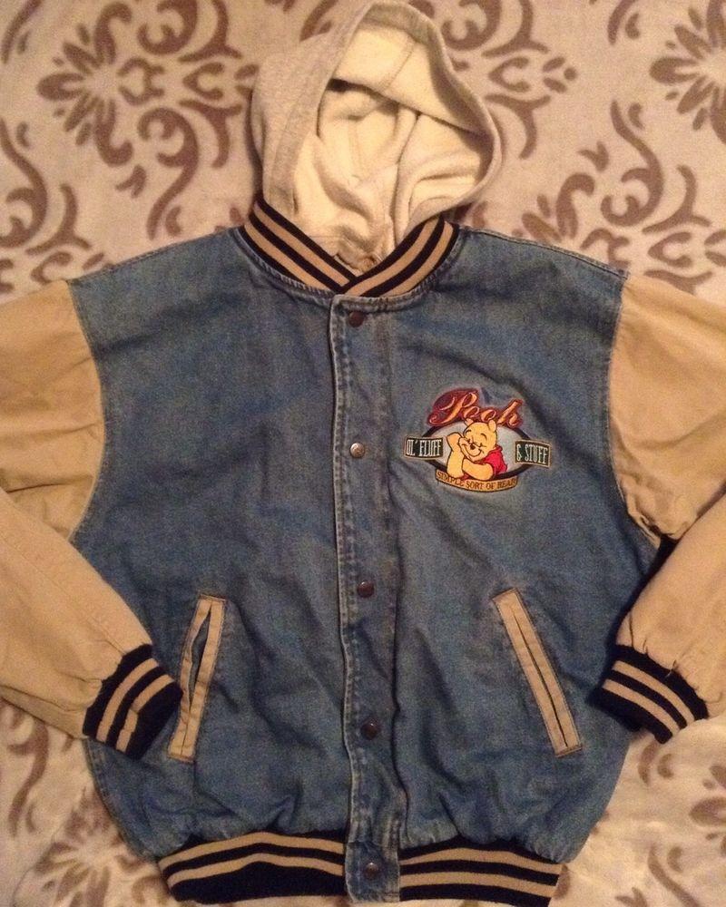 Winnie The Pooh Embroidered Varsity Jacket Denim Khaki L Hoodie