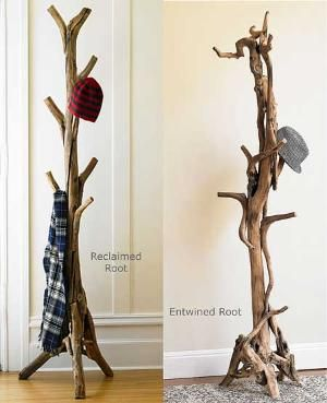 ENTRY DECOR - Rustic tree coat stand styled with holiday colored wardrobe pieces. Find one online that's affordable and we will art direct the surroundings to seem very wintry and holiday.