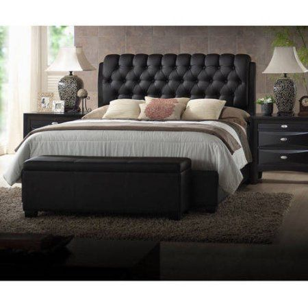 Faux Leather Bed With Tufted Headboard, Ireland Queen Faux Leather Bed Black