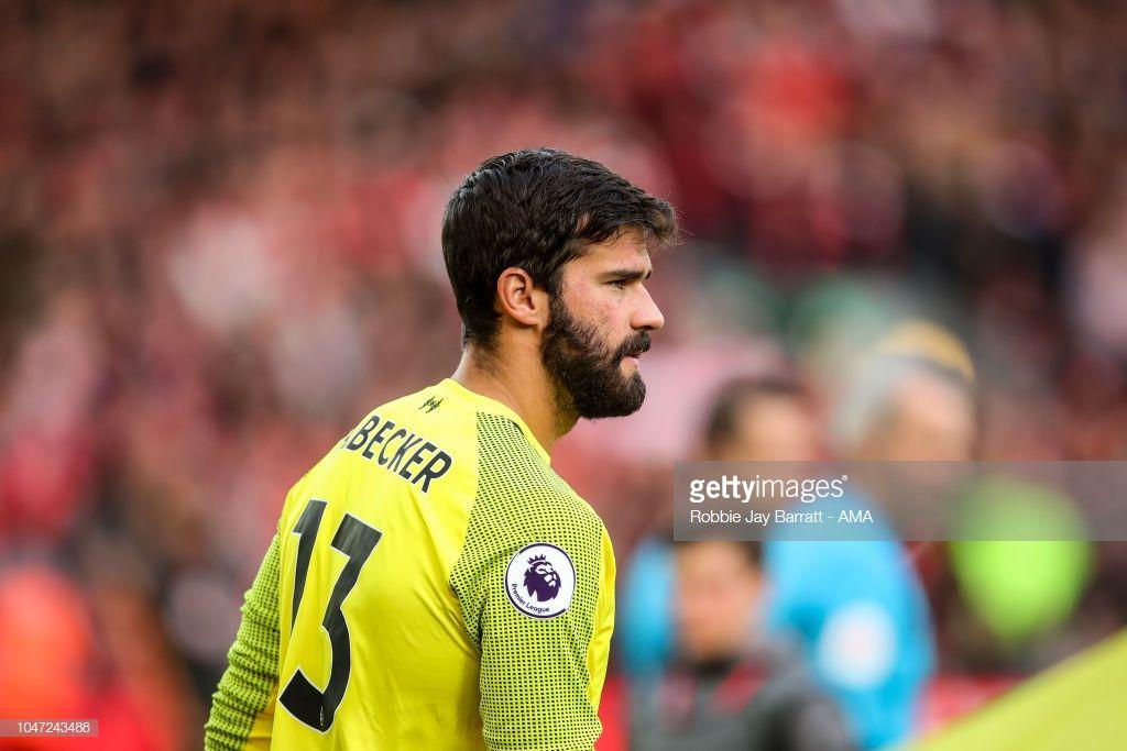 8ebf015d41e Alisson Becker of Liverpool during the Premier League match between ...