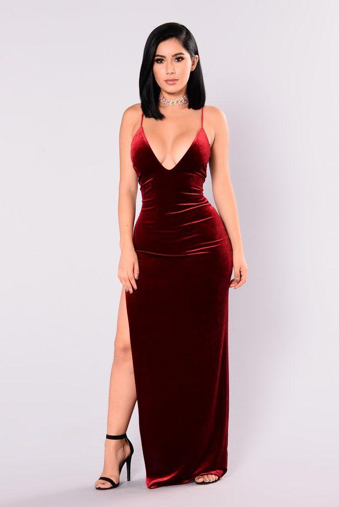 Galant Velvet Dress - Burgundy  e2581777193