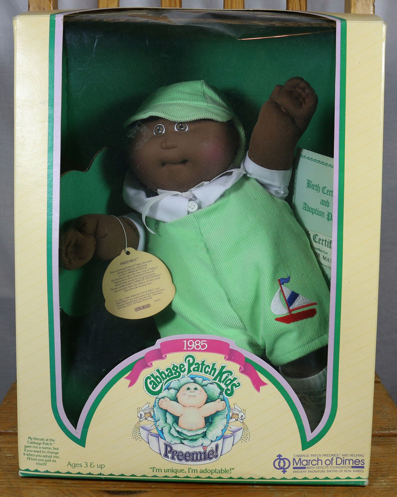 1985 Vintage In Box Cabbage Patch Kid Preemie African American Boy Boat Outfit Cabbage Patch Kids African American Boys 80s Girl Toys