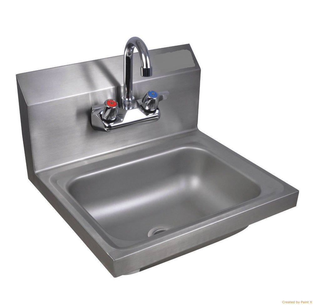 Commercial Kitchen Stainless Steel Wall-Mount Hand Sink w/ Faucet ...