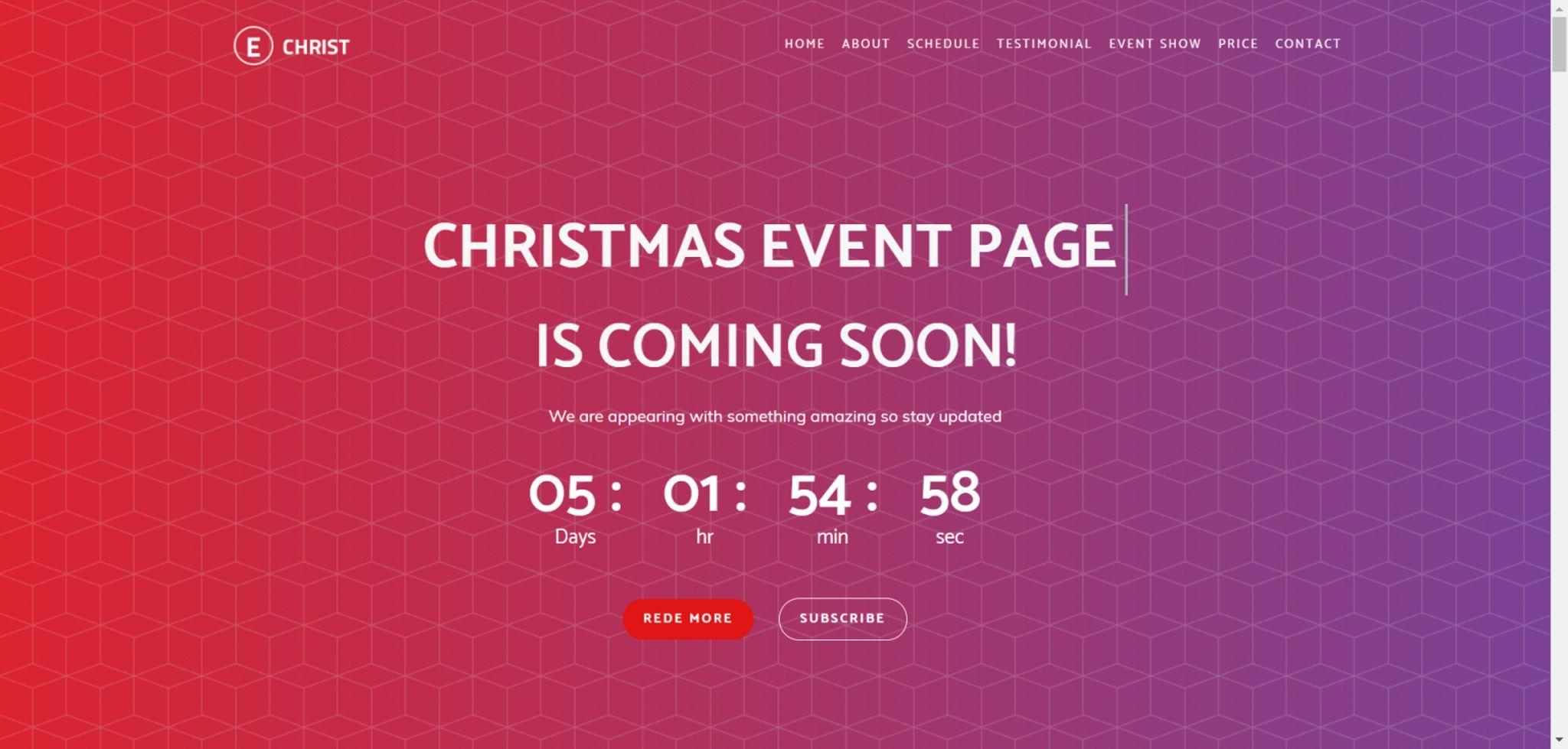 echrist responsive event landing page template design studio