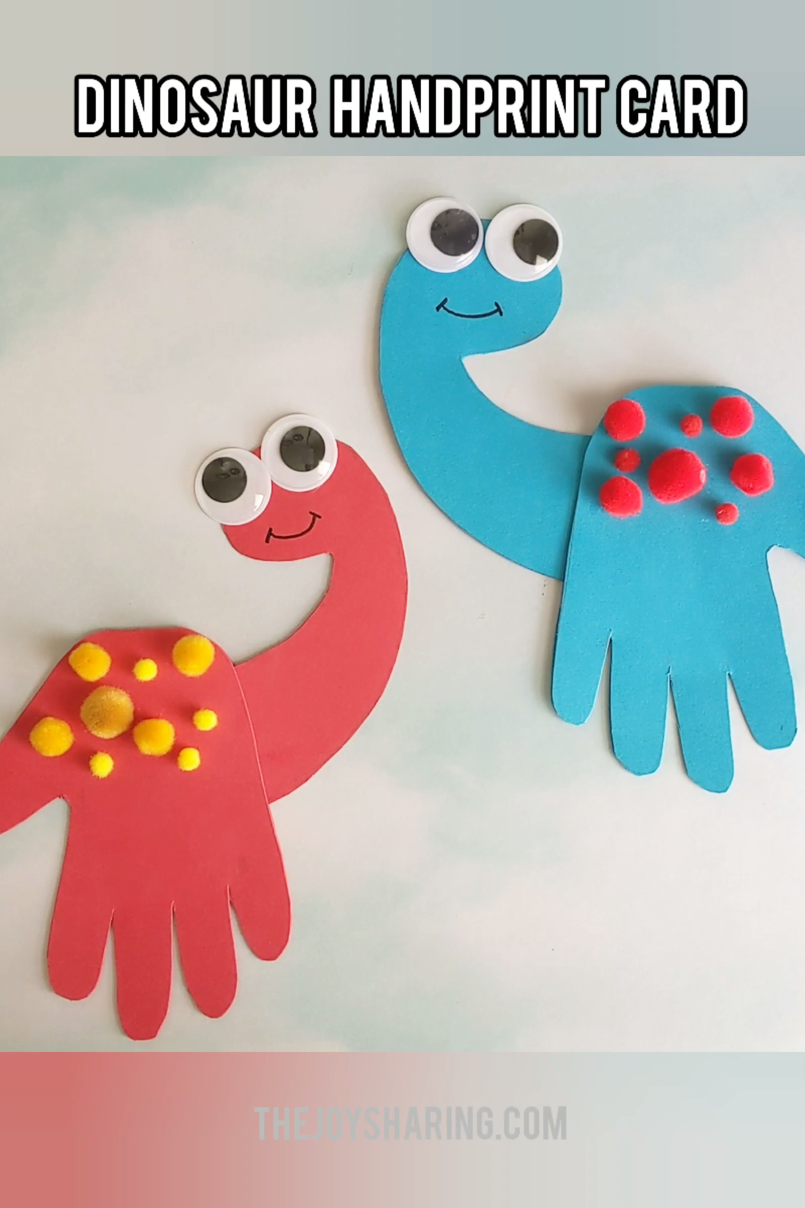 Dinosaur Handprint Father's Day Card #toddlercrafts
