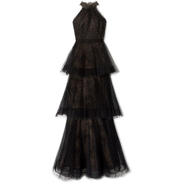 Tiered Point Desprit And Lace Gown - Black Marchesa Cheapest 2Je5gJgKvc