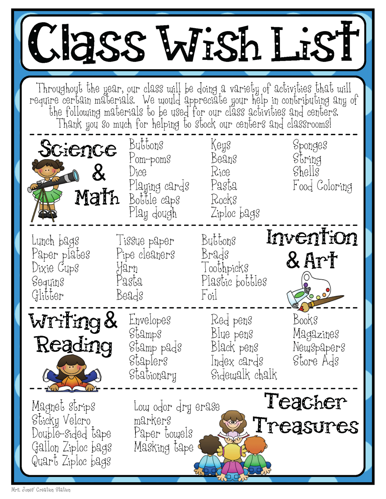 Mrs Jones Creation Station Class Wish List