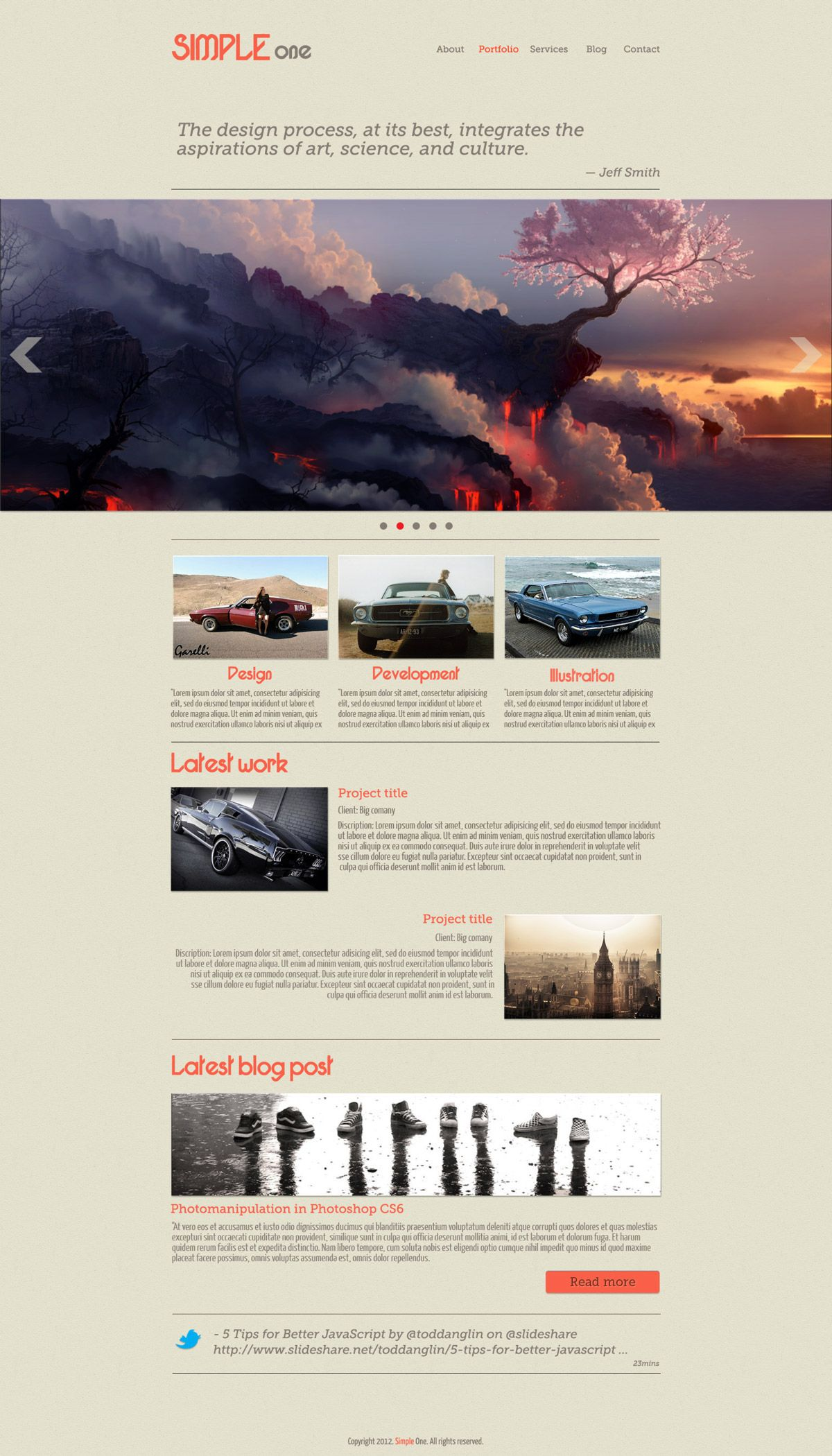 Simple ONE - free psd template