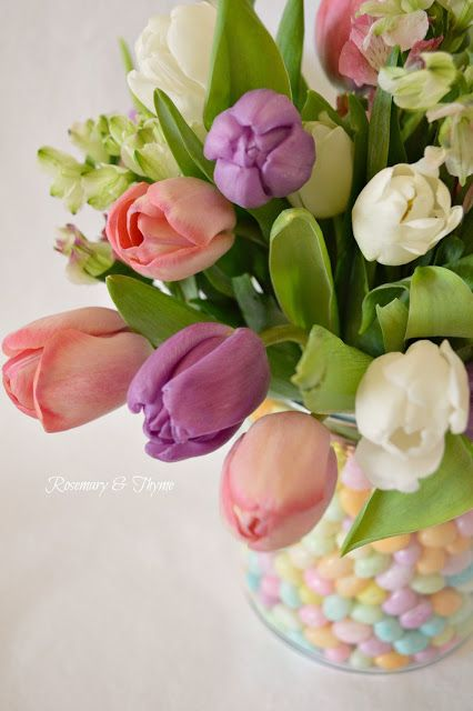 flowers.quenalbertini: Jellybean Easter, Spring Centerpiece | Rosemary and Thyme