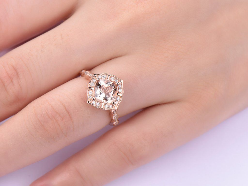 Cushion Engagement Cathedral Ring Diamond