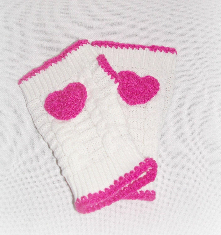 Pink White Heart Fingerless Sweater Gloves, Crochet Knit Fingerless Hand Warmers Crochet Pink Heart, Boho Hippie Girl's Women's Gloves by ICreateAndCollect on Etsy