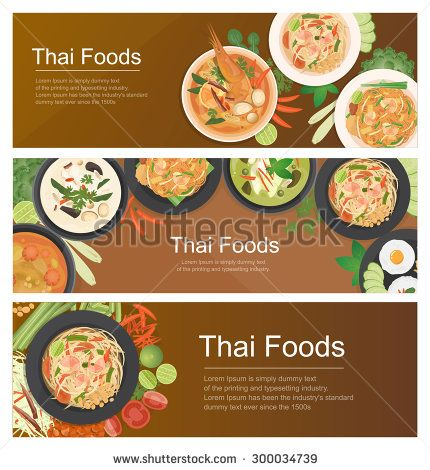 Vector Illustration Design Of Asian Food Thai Food Banner Top