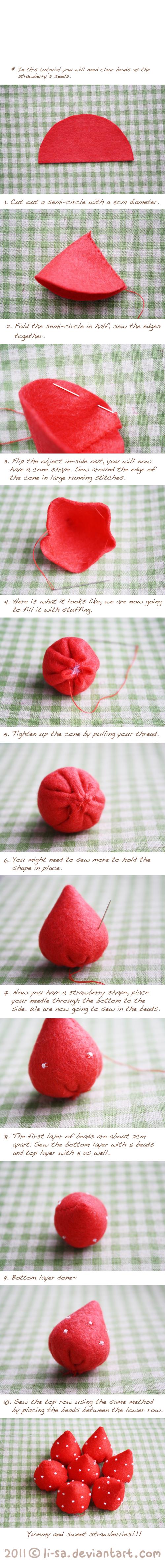 Felt cake tutorial- strawberry by li-sa.deviantart.com on @deviantART