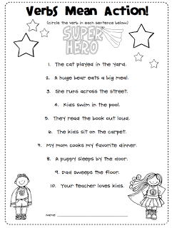 verbs are action words freebie first grade blue skies 1st grade