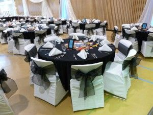 Black Table Linens Ivory Chair Covers With Black Organza Sash