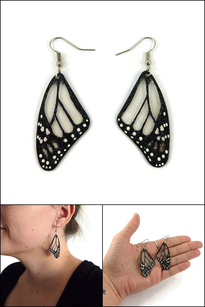 Transparent and black Monarch butterfly wings earrings, handmade plastic fancy dangles earrings, recycled CD butterfly fairytale earrings - Made on order by @savousepate on Etsy - pinned by pin4etsy.com