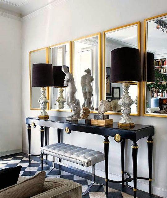 Mirror Arrangement; Glamorous Foyer Decorating Black Console Table Gold  Mirrors Black Lamps Tile Floor
