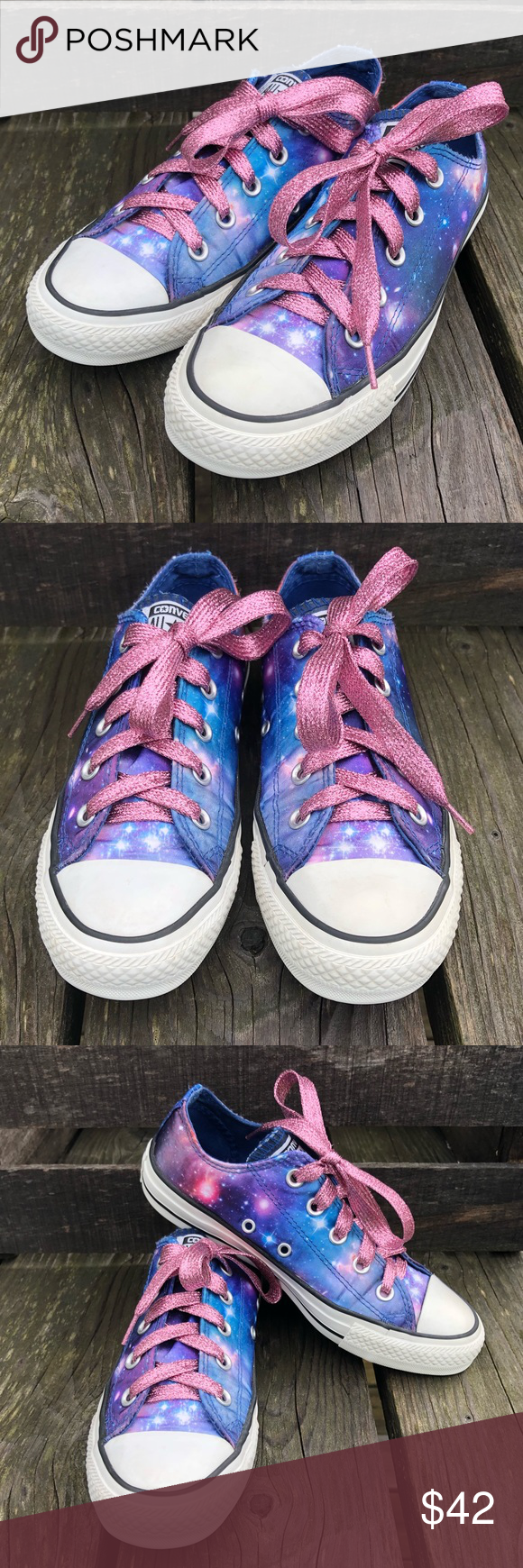 220329b737 Galaxy Converse Pink w Glitter Laces! EUC! Favorite galaxy Converse  All-Star Converse with new pink glitter laces a touch of flair! Size  women s 6 kids size ...
