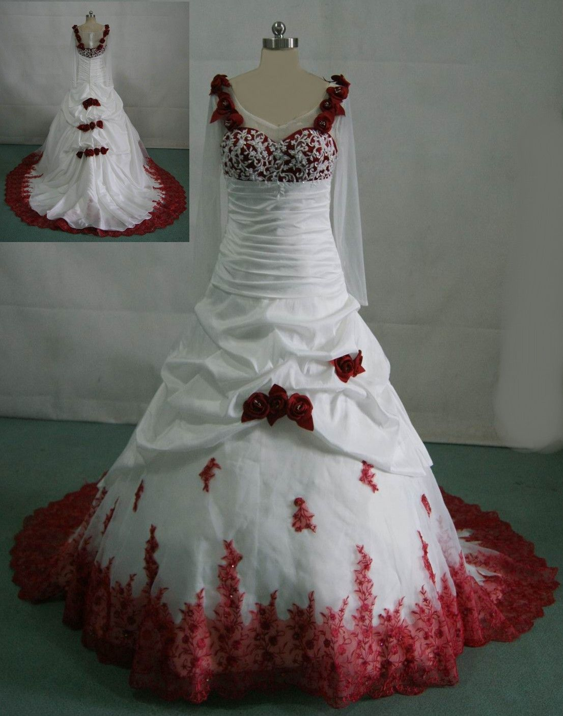 Trendy Red Wedding Dresses White wedding gown with red roses on the dress