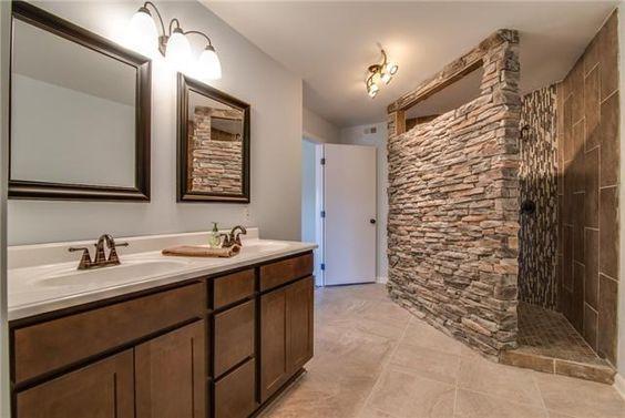 Beautiful Bathroom With Stone Walk In Shower Beautiful