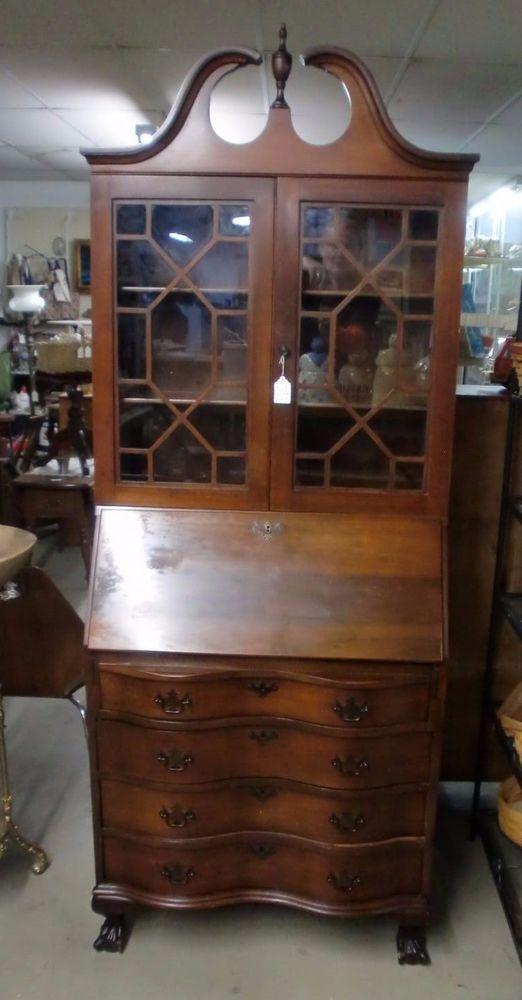 Antique Original Mahogany Drop Front Secretary Bookcase Desk