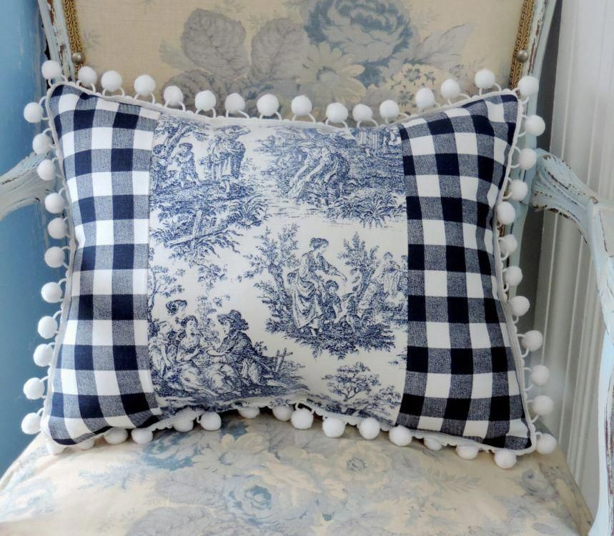 Navy Blue Toile And Check French Pillow Frenchdecorating