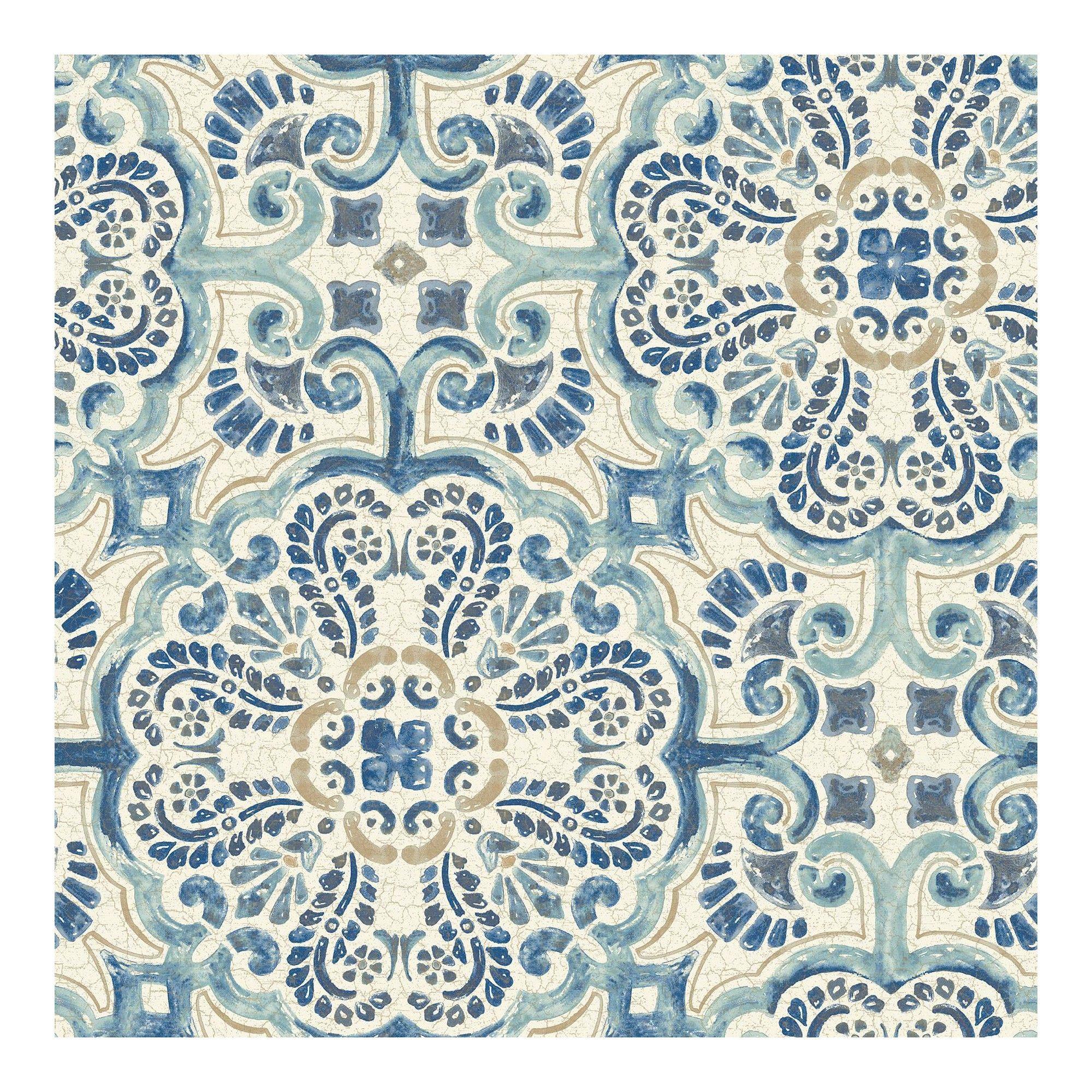 Nuwallpaper Florentine Tile Peel Stick Wallpaper Blue Vinyl Wallpaper Peel And Stick Wallpaper Tile Wallpaper