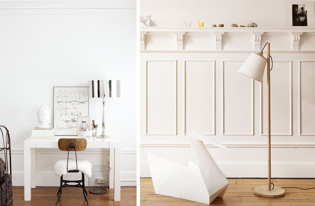 Intérieur blanc et bois brut idée décoration design bureau salon