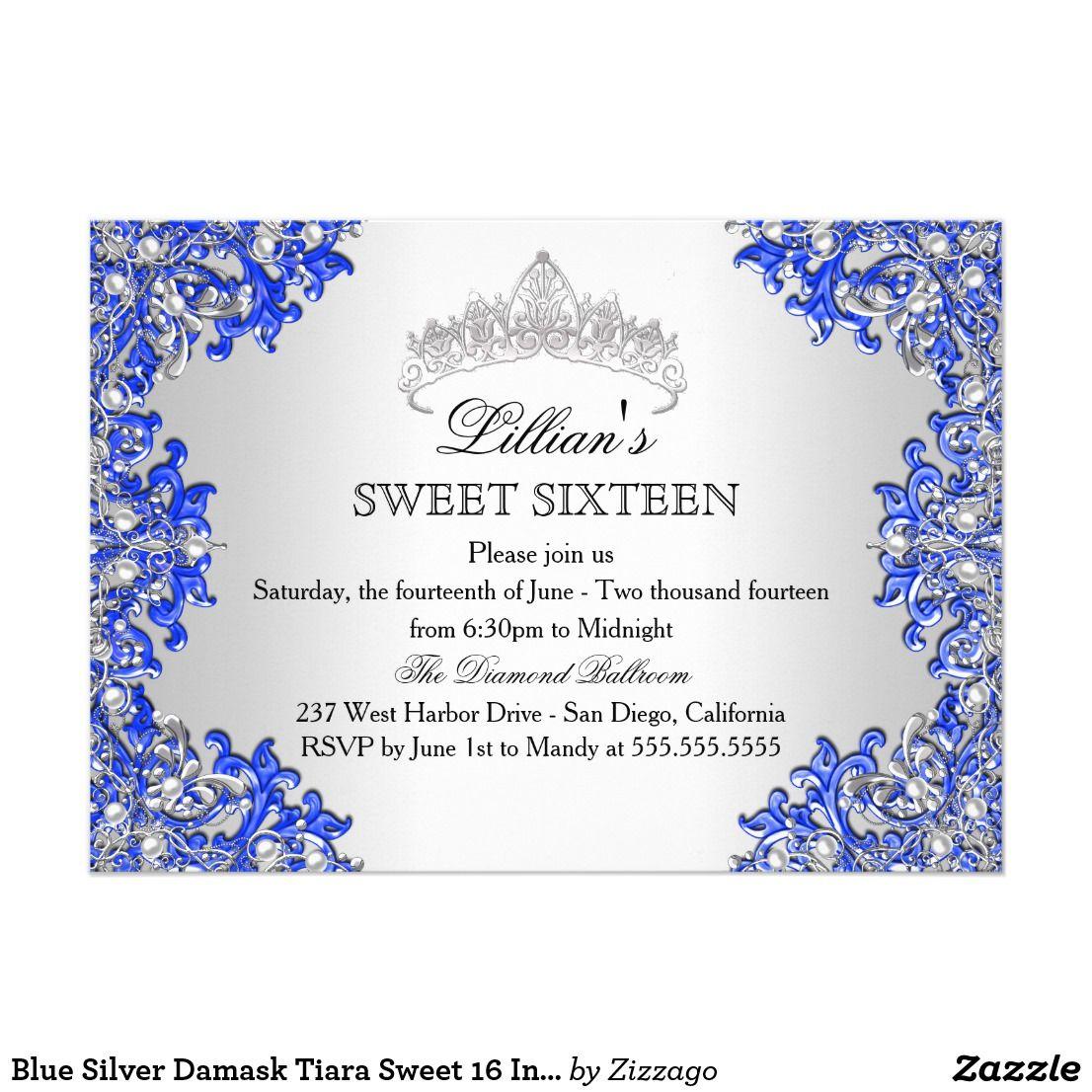 Blue Silver Damask Tiara Sweet 16 Invitation Blue & Silver Sweet 16 ...