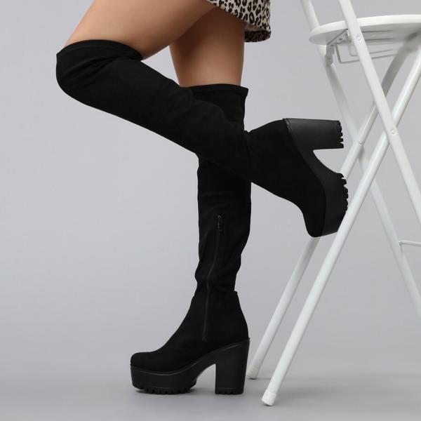 cef47267ec9 Chunky Platform Black Suede Over the Knee Boots with Mid Block Heel – KOI  footwear