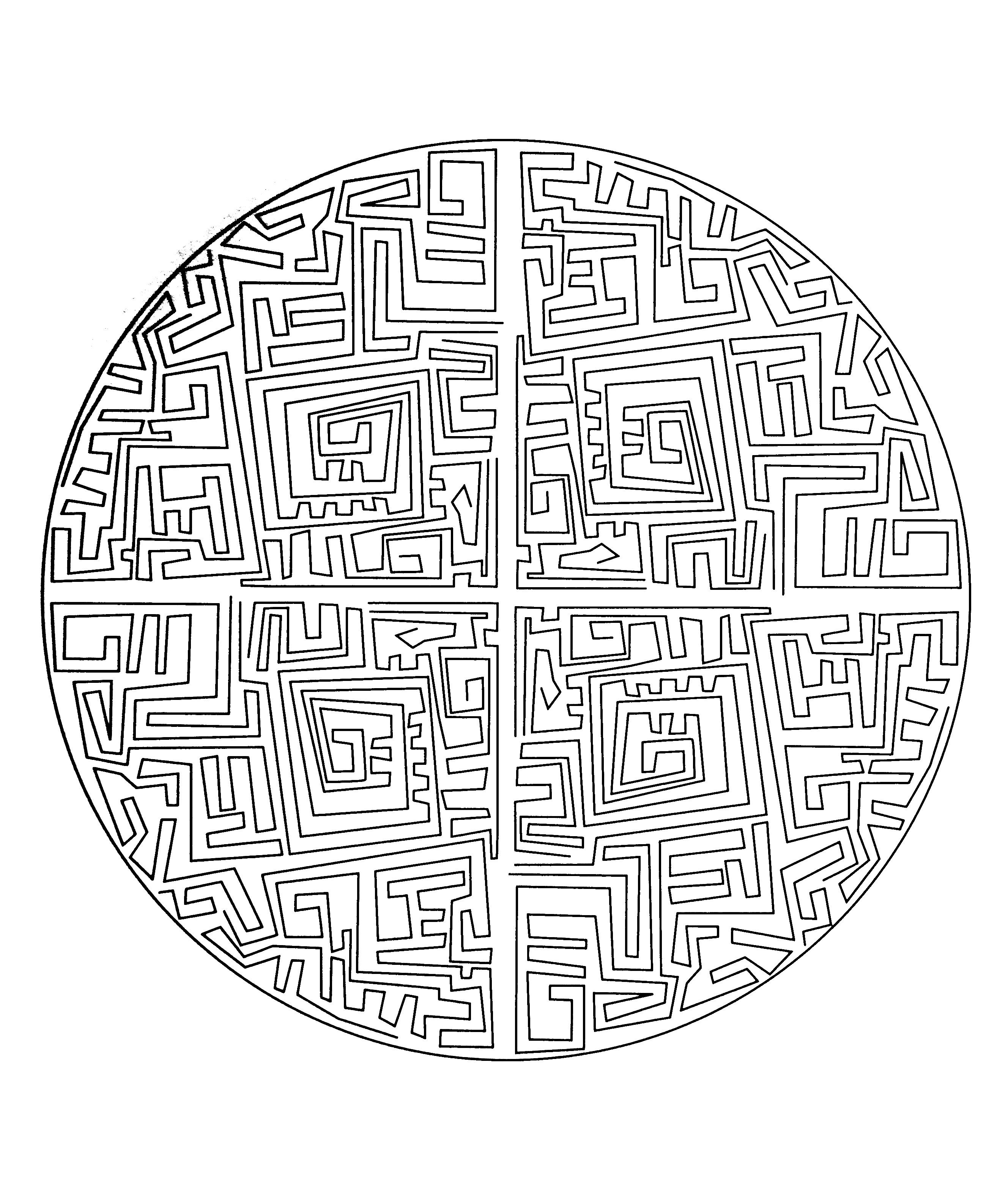 free mandala to color maze coloring pages printable and coloring book to print for free find more coloring pages online for kids and adults of free mandala - Maze Coloring Pages